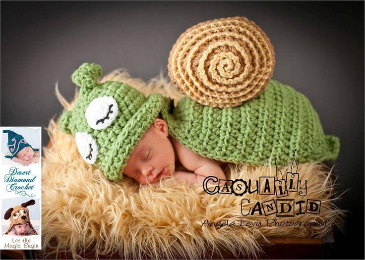 Crochet pattern 031 snail slug animal cape newborn photography prop
