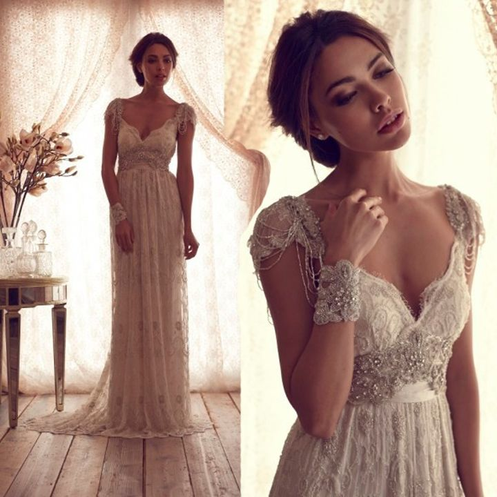 Custom made! Luxury V Neck Anna Campbell Wedding Dresses Lace Crystal Beaded Bridal Gowns With Sleeves vestidos de novia 2014-in Wedding Dre...