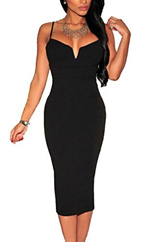 Zeagoo Women's Sexy Spaghetti Strap Plunging V Neck Sheath Bodycon Dress -- You can get additional details at the image link.