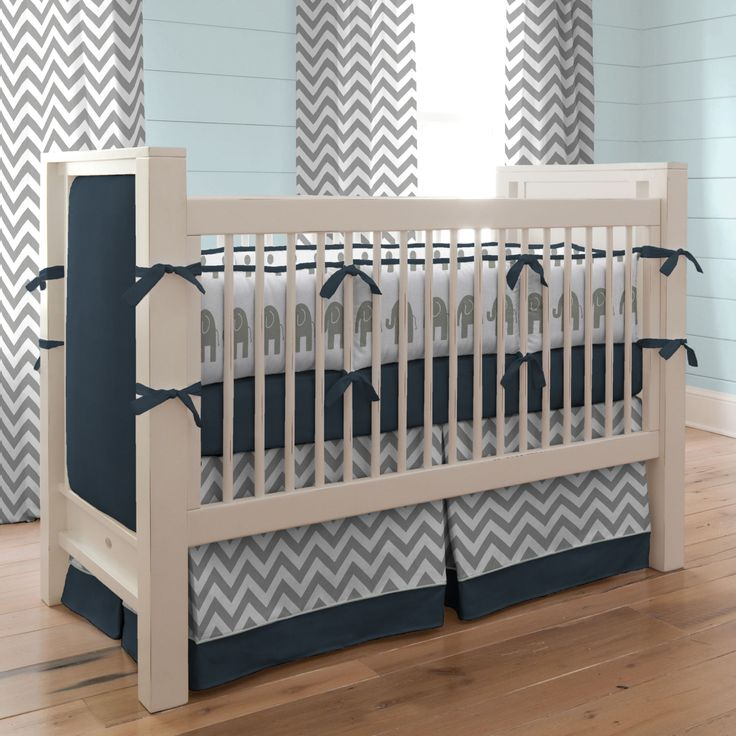 navy and gray elephants baby crib bedding