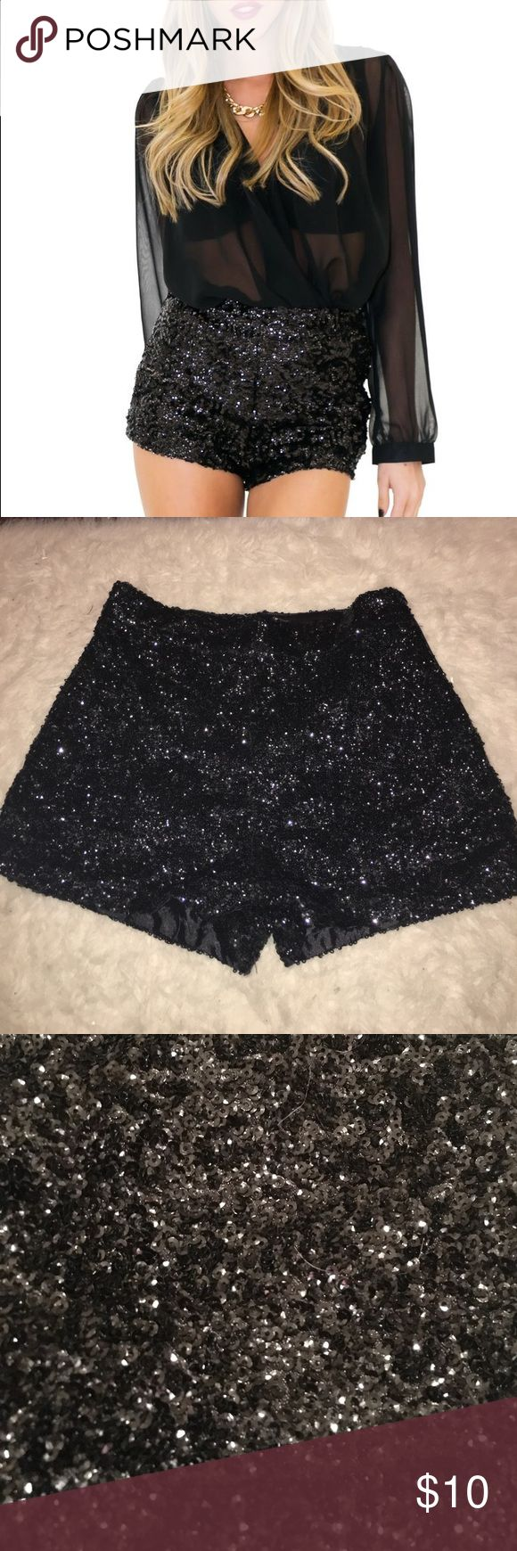 Dazzling High Waisted Black Sequin Shorts S New without tags. No flaws. Size S (would fit sizes 2-4) Has a bunch of very small sequins all over, creating a gorgeous, multidimensional shine. The brand is l'atiste. *not nasty gal, tagged as so for exposure* Nasty Gal Shorts