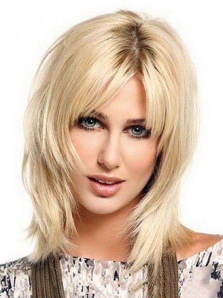 Shoulder Length Blonde Straight Layered Synthetic Hair Wig with Middle Part