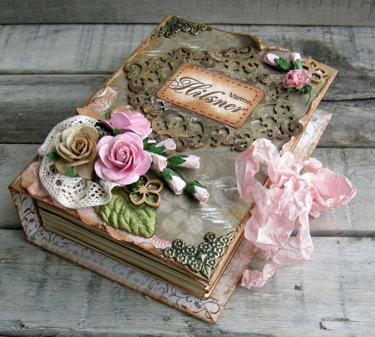 Incredible shabby chic / vintage handmade wedding album / keepsake
