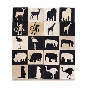 Hand Painted Zoo Animals Memory Game #ohswag #babytoys #oneofakind