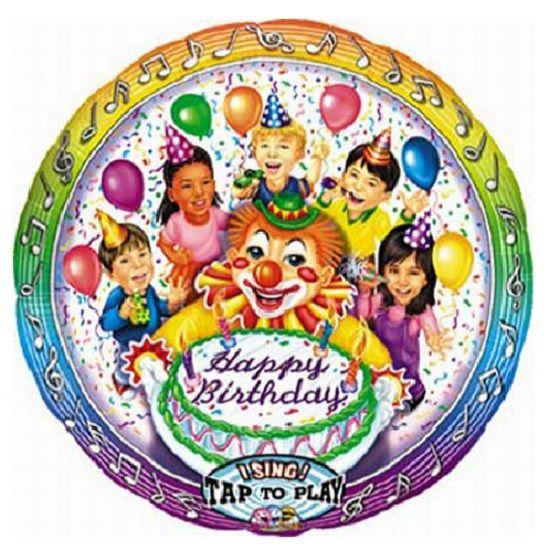 Singing Foil Balloon - Happy Birthday Clown 71.1cm