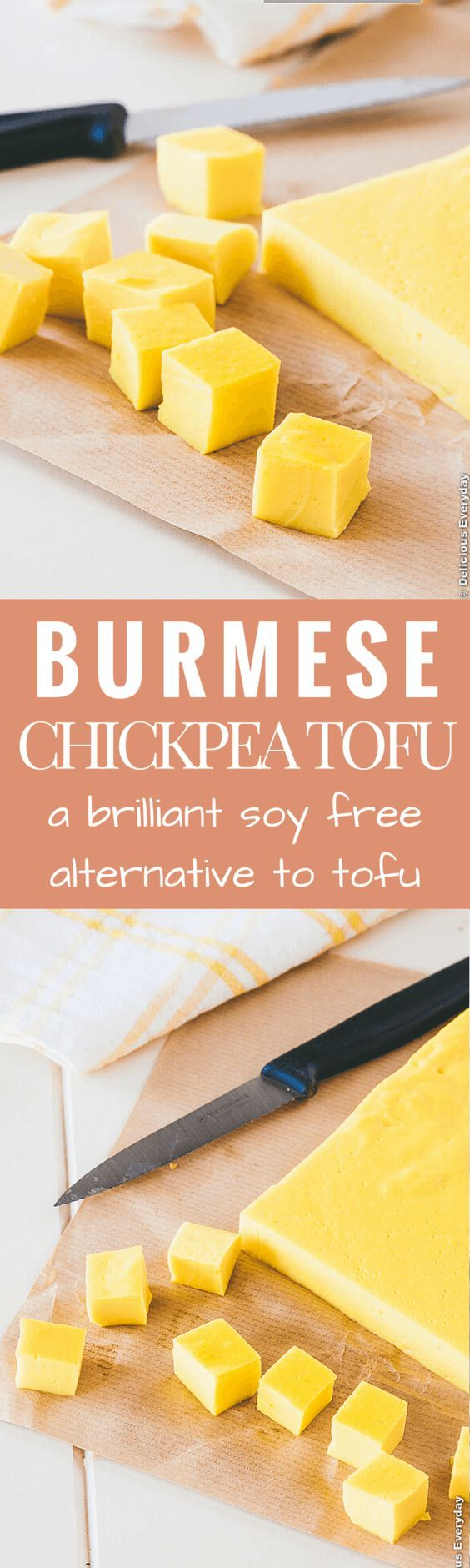 Looking for a soy free alternative to tofu? This Burmese Chickpea Tofu is easy to make and is a healthy and delicious source of protein. Great in salads, stir fries and soups. | Get the recipe at Delicious Everyday: