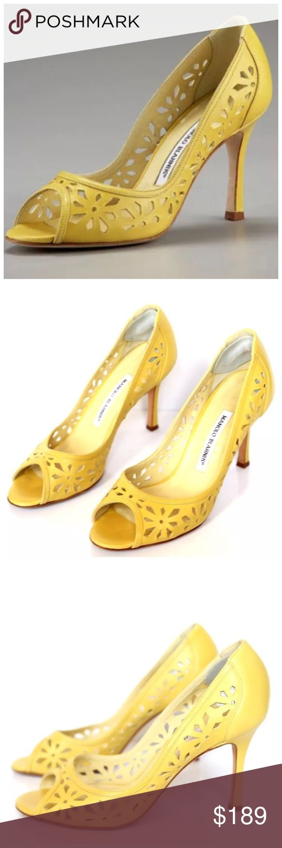 """Manolo Blahnik Yellow Laser Cut Shoes ‼️ PRICE FIRM ‼️ 10% DISCOUNT ON 2 OR MORE ITEMS FROM MY CLOSET ‼️ Manolo Blahnik Laser Cut Heels Size 38 Retail $895 Fabulous pair of shoes from renown designer Manolo Blahnik. These are absolutely gorgeous. I wore them once but they are just a bit too large on me. Great condition. Only worn once or twice. The measurement on the inside toe to heel is approximately 9.5"""". Width is 3"""". Heel is 3.5"""". Manolo Blahnik Shoes Heels"""