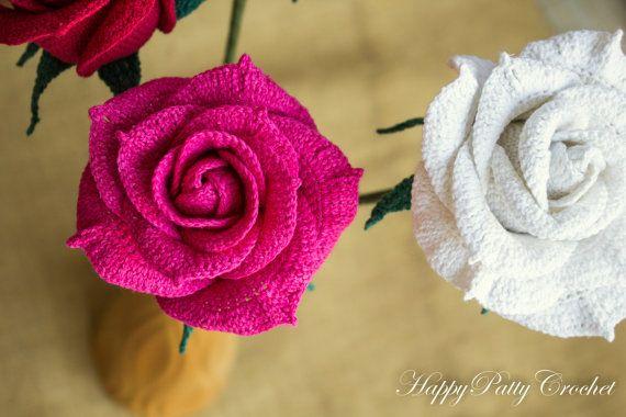 Crochet Rose Flower  Crochet Open Rose for by HappyPattyCrochet