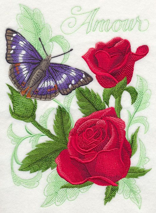 PURPLE EMPEROR BUTTERFLY & ROSES - QUILT BLOCK HAS 1 DESIGN ON 14 X 14 COTTON FABRIC    1 - PURPLE EMPEROR BUTTERFLY & ROSES QUILT BLOCK is machine embroidered on pre-shrunk, 100% Cotton fabric that is high quality and a perfect weight for quilting or any quilting project that you might want to do.    A butterfly and flowers bloom with color against a graceful toile backdrop.    There is stabilizer on the back of the quilt blocks and you can leave it on or you can cut it away, it will not…