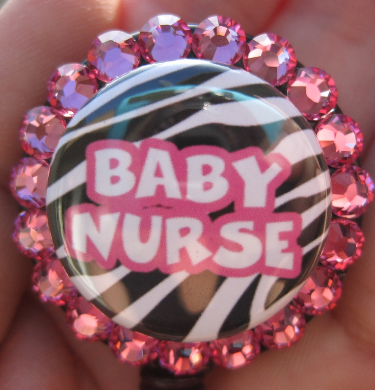 PEDS NICU Nursery Nurse Badge Holder ID retractable reel with Swarovski Crystals. $11.00, via Etsy.