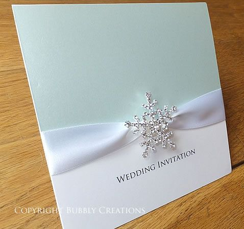 Blue Snowflake wedding invitation. Ice Blue by BubblyWeddings