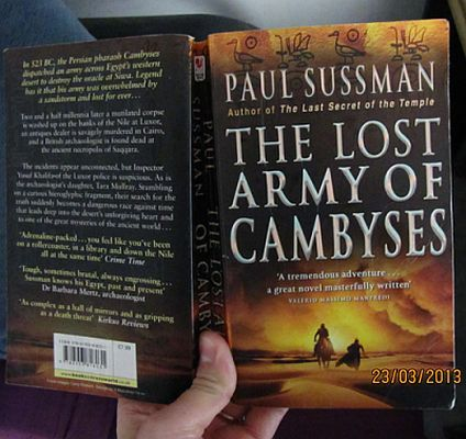 The Army of Cambyses by Paul Sussman the first in the Yusuf Khalifa mystery series http://www.mysterysequels.com/best-archaeological-mystery-books.html