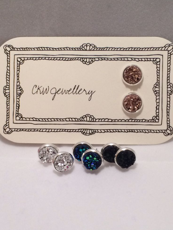Faux Druzy Silver Plated Stud Earrings by CKWJewellery on Etsy