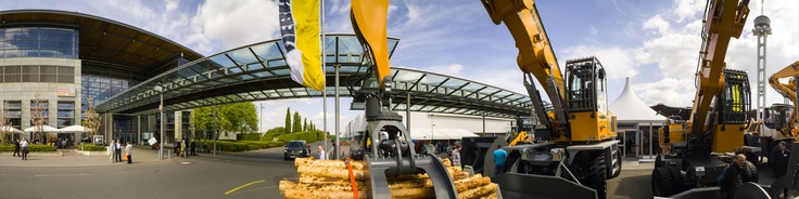 "360 degrees panorama view the LIGNA 2013 on Hannover fairgrounds - the outdoor exhibition area with LiebherrCopyright@photo-panorama-stamm.com""Der Stamm kann 360 Grad / Stamm does 360 degrees""www.event-panorama.com"