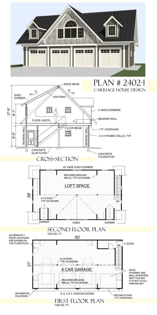 Love this garage plan would be a nice workspace and could for Carriage house plans with loft