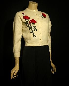 1950s applique rose cardigan