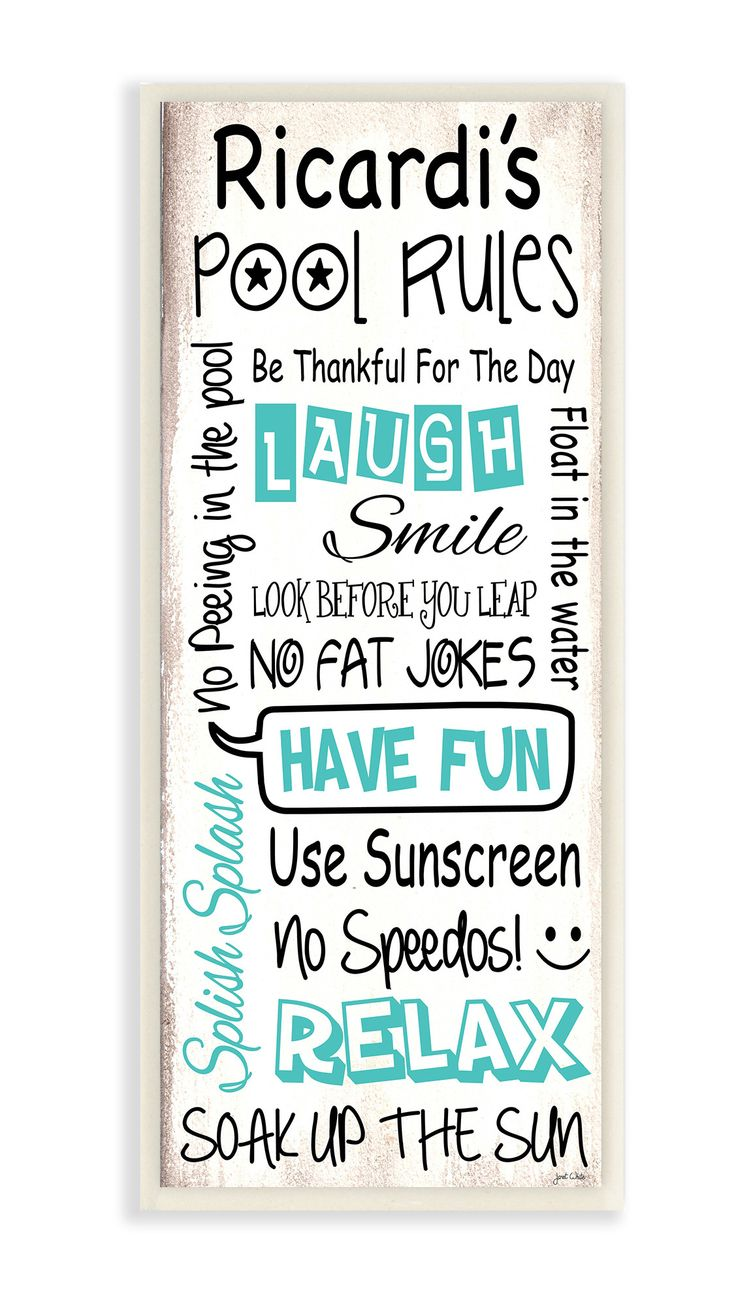Personalized Pool Rules Skinny Textual Art Plaque