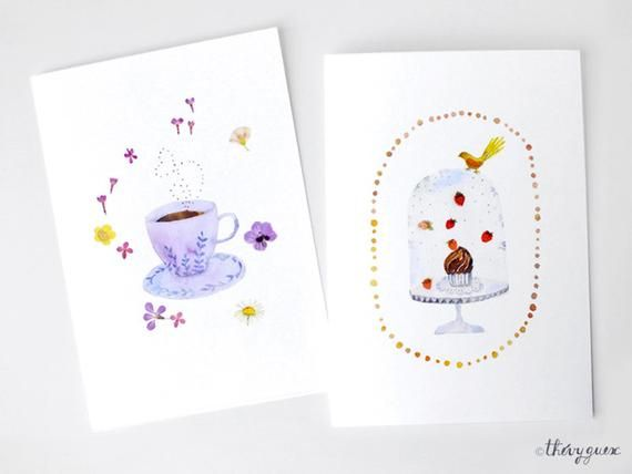 Chocolate Watercolor Card Chocolate Stationery Snack Card Cute
