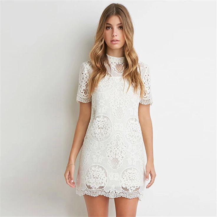 Hollow out White  lace Women dress Elegant Party Dress Work Wear