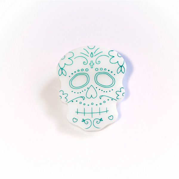 Sugar Skull Plexiglass Pin Brooch Laser Cut And Engraved Turquoise (31 PLN) ❤ liked on Polyvore featuring jewelry, brooches, skull brooch, turquoise jewelry, skull jewelry, pin jewelry and green turquoise jewelry