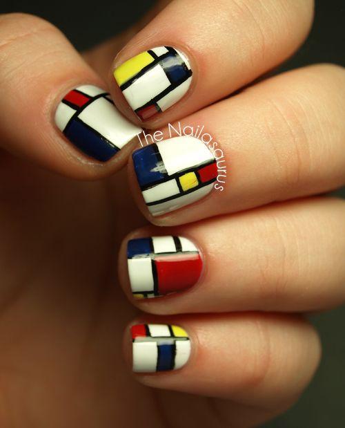 The Nailasaurus: 31DC2012 Day 27: Inspired by Artwork. Piet Mondrian nail polish manicure.