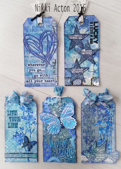 For the A Vintage Journey Monochrome theme this month I shared 3 tags I had made - all in blue! Well there were actually 5 (once I had finished them) so just popping back today to share the final 2. I