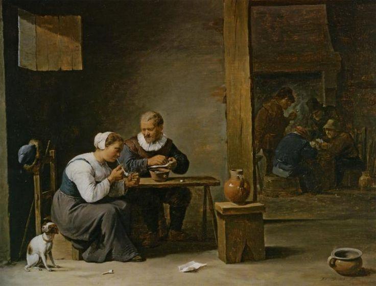 ХУДОЖНИК ДАВИД МЛАДШИЙ ТЕНИРС (1610–1690) (НИДЕРЛАНДЫ).A MAN AND WOMAN SMOKING A PIPE SEATED IN AN INTERIOR WITH PEASANTS PLAYING CARDS ON A TABLE