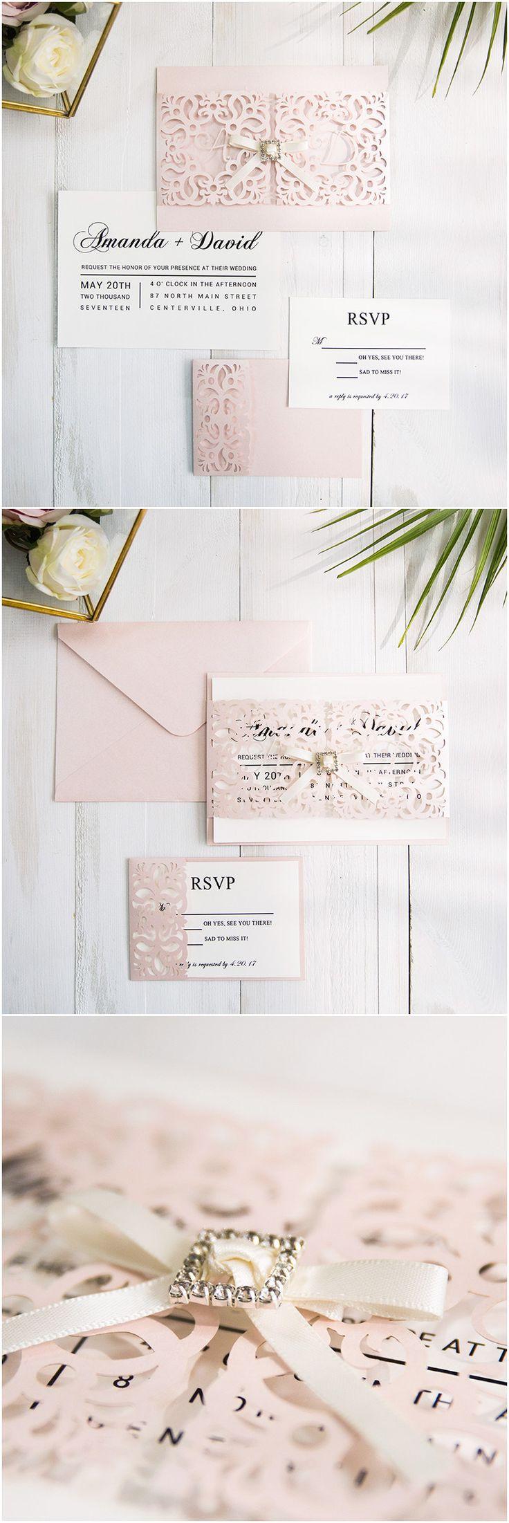 custom monograms pink laser cut wedding invitations