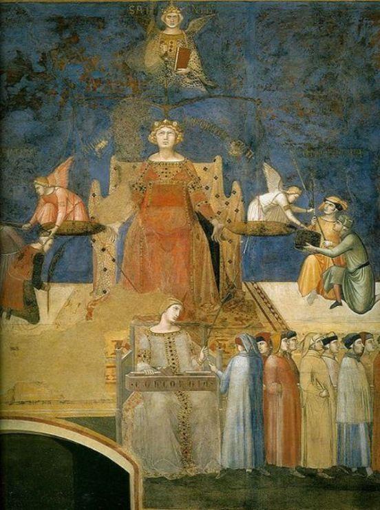 Амброджо Лоренцетти. «Аллегория доброго правления» фреска. деталь: фигура Правосудия. 1337-39. Сиена, Палаццо Пубблико.