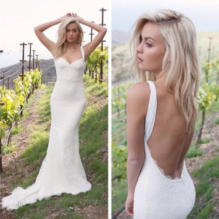Sexy strakke bruidsjurk van kant met mooie open lage rug