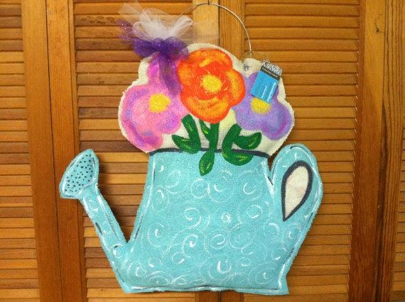 Watering Can w/Flowers Burlap Door Hanger by DecorateYourDoors, $40.00: Burlap Door Hangers, Doors Hangers Greeting, Doors Hangergreet, Burlap Doors Hangers