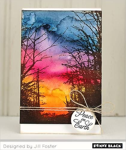 handmade greeting card using Penny Black leafless trees in silhouette against a magnificent Brushos watercolor sunset background ...