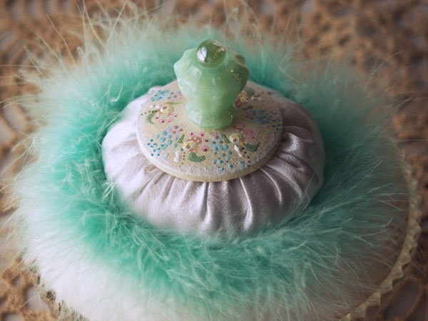 Vintage Inspired Powder Puff with Green Glass Handle -  SHABBY Chic (comes with 2 oz of dusting powder)