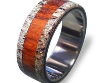 Titanium Ring, Mens Titanium Wedding Band, Deer Antler, Antler Ring, Wooden, Wood Ring, Wedding Ring by RingOrdering