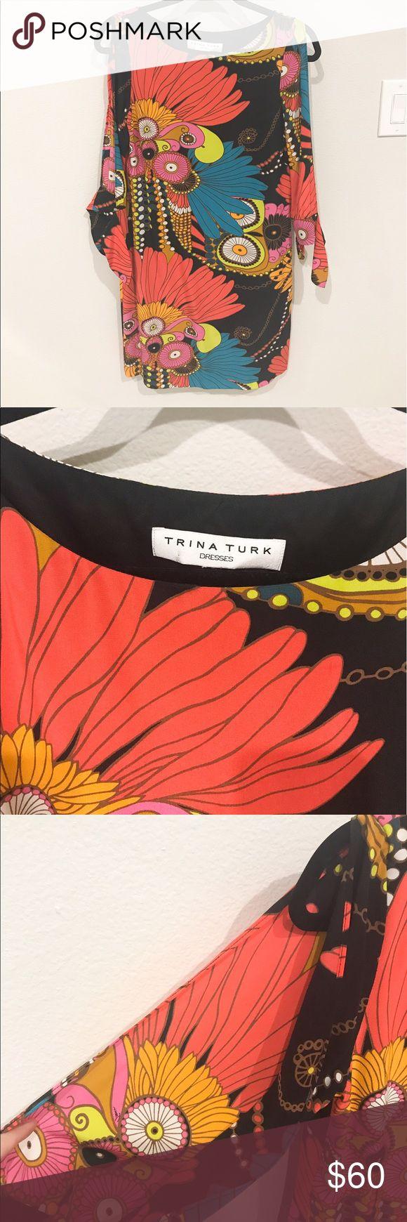 Colorful Trina Turk dress size 0 Vibrant Trina Turk silk dress with 3/4 split sleeves.  Like new, worn only a couple times. Trina Turk Dresses