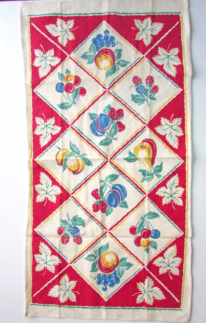 Vintage 1950u0027s Unused Cotton Kitchen Towel, Red White Green With Fruits And  Leaf Vignettes,