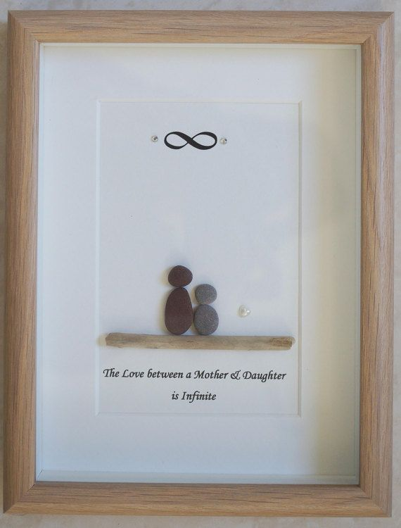 This is a beautiful small Pebble Art framed Picture of Mother & Daughter - The Love between a Mother & Daughter is Infinite  handmade by myself using Pebbles, Driftwood, White Heart Size of Picture incl Frame : approx. 22cm x 17cm  This Picture is only available as shown in Photo  Thanks for looking Doris   Facebook: https://facebook.com/Pebbleartbyjewlls4u      Product Code: P - Aqua