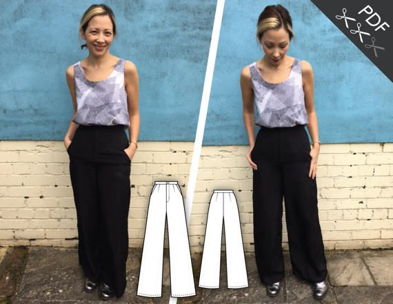 Tutorial and sewing pattern to create a high waist palazzo trouser with slash pockets, front fly and waistband. Two lengths included: full and cropped. Our format is adapted for home printers so you can quickly start sewing. Once the purchase completed, a link is provided to download the PDF file, which contains both tutorial and pattern. Seam and hem allowances included.  TR804 – TROUSERS Sizes: XS-S-M-L-XL Inseam A: 73.5cm (29) B: 53cm (21) Rise: 29cm (11 ½) Difficulty level: Intermediate…