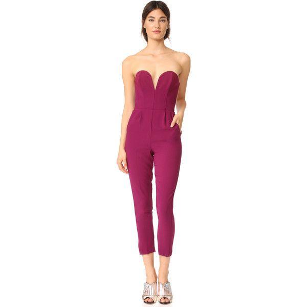 Amanda Uprichard Cherri Jumpsuit ($205) ❤ liked on Polyvore featuring jumpsuits, syrah, amanda uprichard, purple jumpsuit, jump suit, strapless jumpsuit and sweetheart neckline jumpsuit