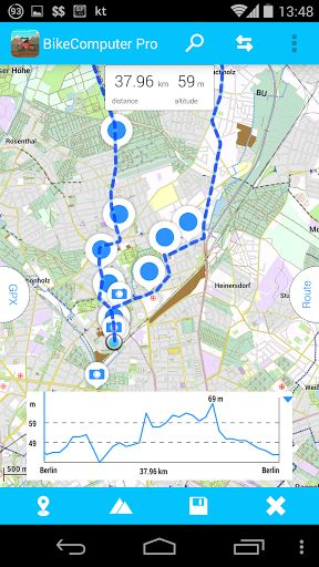 BikeComputer Pro v7.4.2 [Patched]   BikeComputer Pro v7.4.2 [Patched]Requirements:4.0Overview:With BikeComputer Pro you can cycle do jogging or any gps-based movement using an offline or online OpenStreetMap!  Follow your position on the map and experience your driving values like speed distance average speed elevation gain distance to your home location and a lot of others ...  You can also create a route Bike Computer calculates distances and elevations for you before you start your trip…