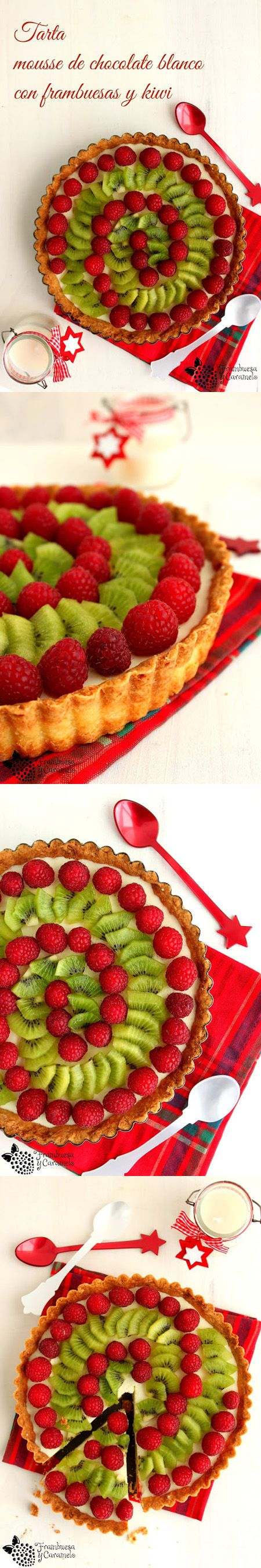 Tarta de mousse de chocolate blanco, kiwi y frambuesa