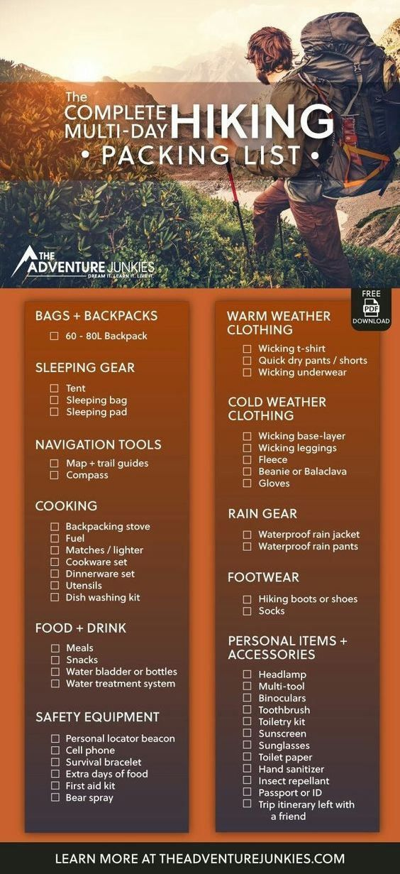 Gear For Beginners – Backpacking Gadgets – Hiking Equipment List for Women, Men and Kids. Don't forget anything behind with this complete hiking packing list with a PDF download ready for you to use. This hiking gear list contains all you need!