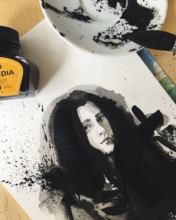 Sunday treat ◼️ Self portrait #100 #ink #black #indianink #winsorandnewton #sketch #painting #art #artist #pelikanink #pelikan #workinprogress #selfportrait #black #backinblack #hahnemuehle #vsco #vscocam #düsseldorf #germany #davinci #brush #designer #bw #sunday @winsorandnewton @watercolor.blog @pelikan_international @hahnemuehle @pelikan_tr @davinci_artistbrushes_official