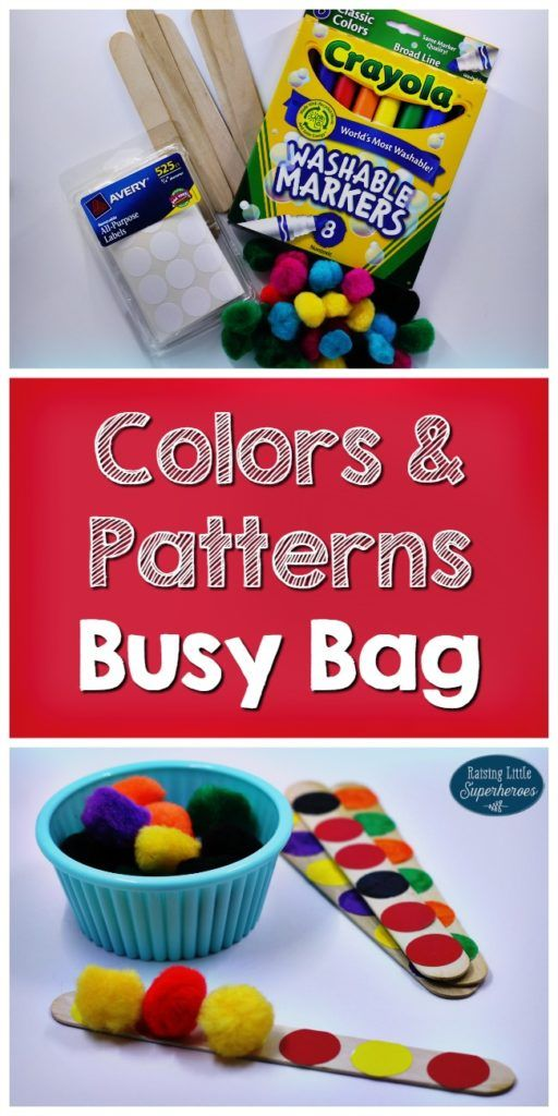 A hands-on way to teach colors and patterns.     A learning activity that young children can do on their own.  All of the materials for the activity are stored in a plastic bag or pencil pouch so they are easy to take on-the-go. Children will practice identifying colors and creating patterns using simple materials