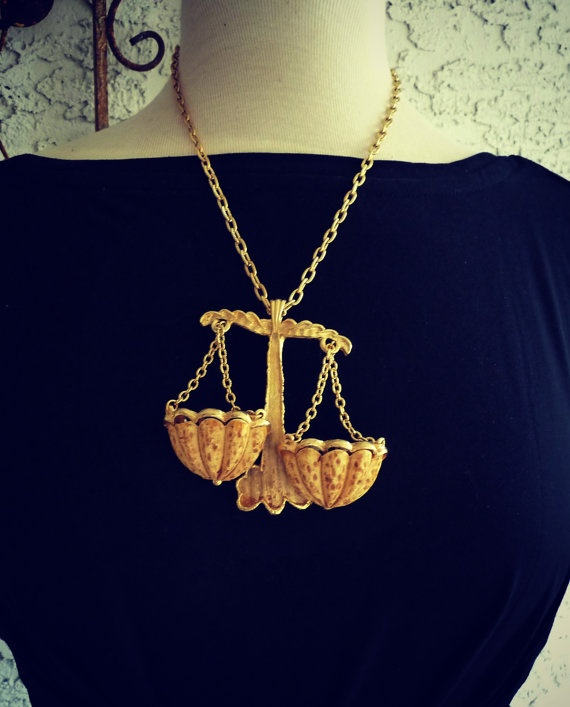 Vintage 1970s Luke RAZZA Libra Zodiac Necklace by VintagebyMelinda, $68.00