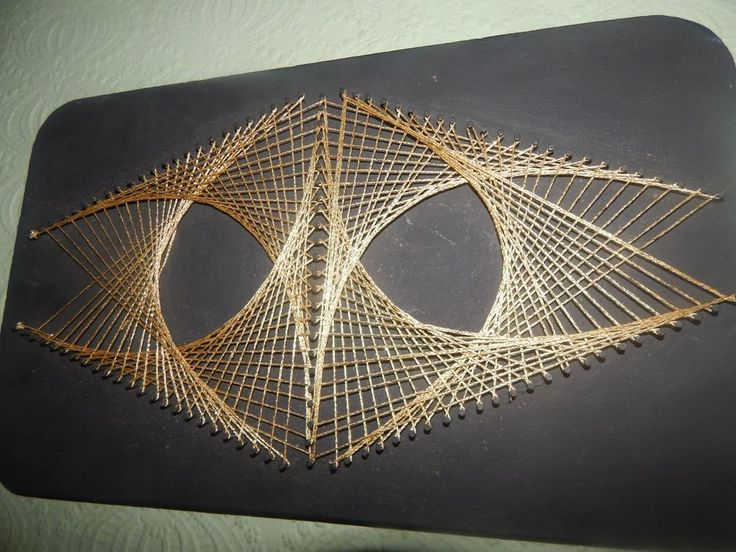 Vintage STRING ART BOARD ARTS & CRAFT Picture THREAD 3D ...