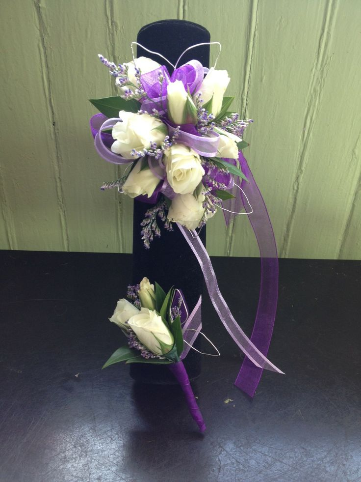 Matching rose Corsage and Boutonniere Purple and White