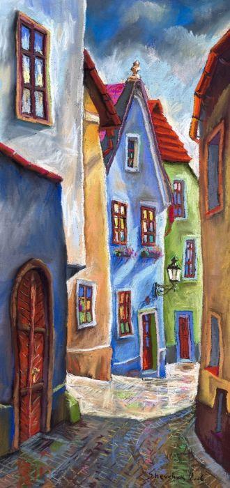 Cesky Krumlov Old Street by Yuriy Shevchuk