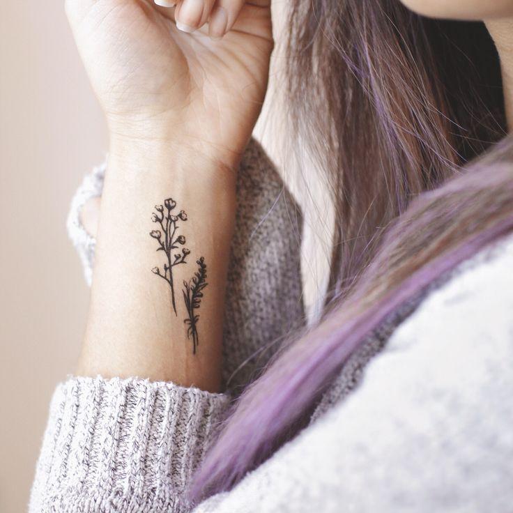 Dainty Floral Tattoo Purple Hair Minimalist Tattoo