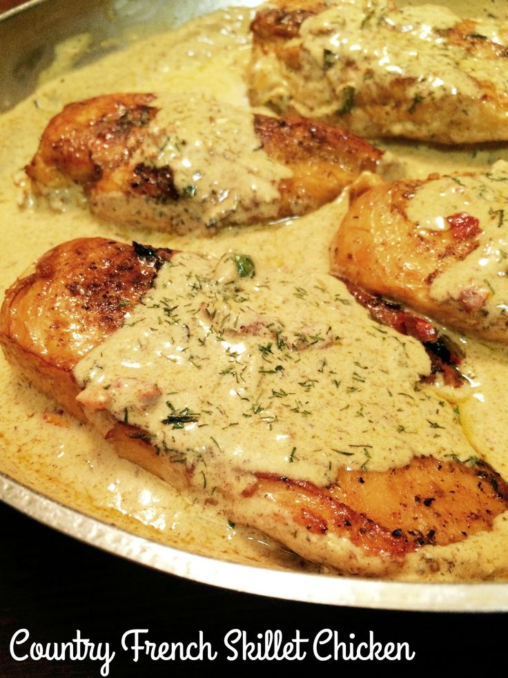 Country French Skillet Chicken - 4 boneless skinless chicken breast pounded to an even thickness, Season Salt, garlic powder, 1/4 cup butter, 1 cup water, 1 package KNORR Vegetable Soup Dip & Recipe Mix, 1/2 cup sour cream, 1/2 to 1 tsp dried dillweed